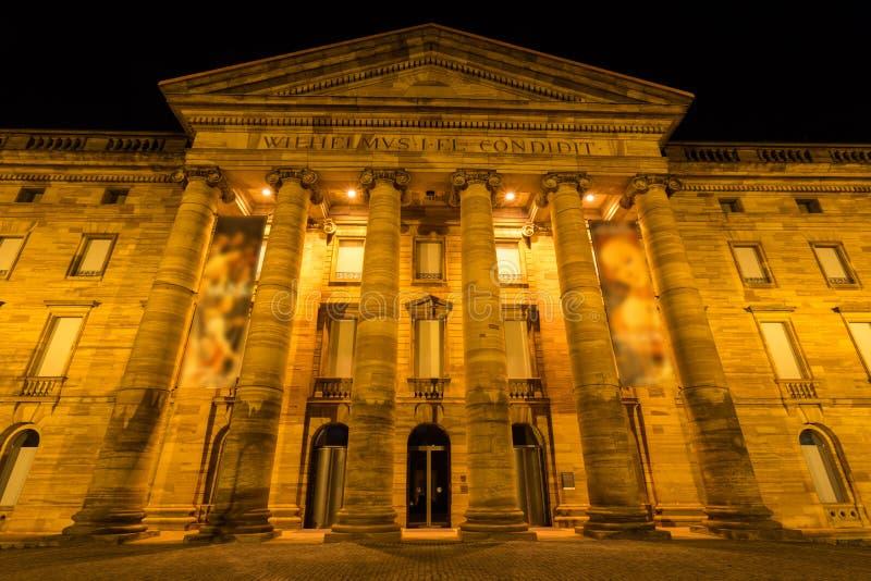 Grodowy wilhelmshoehe Kassel Germany przy nocą zdjęcia stock