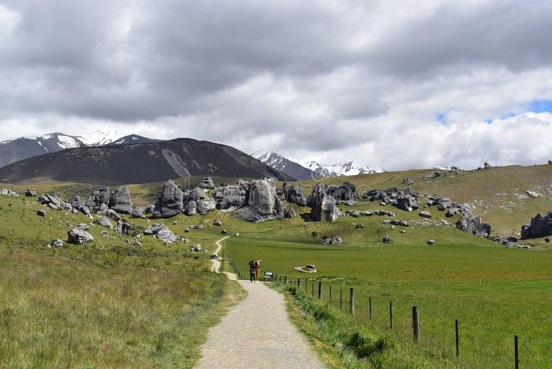 Grodowy wzgórze, Południowa wyspa Nowa Zelandia obraz royalty free