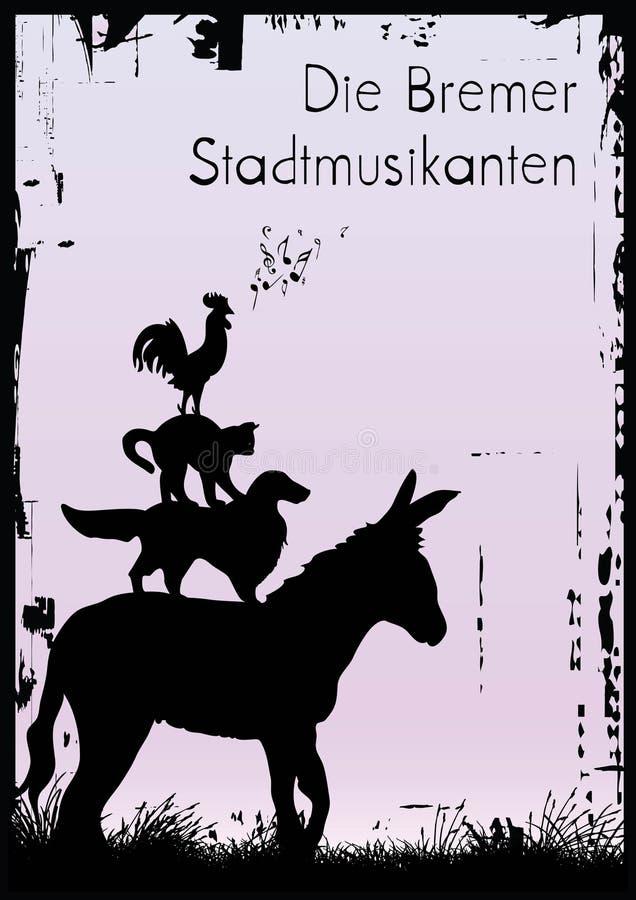 grodzcy Bremen muzycy ilustracja wektor