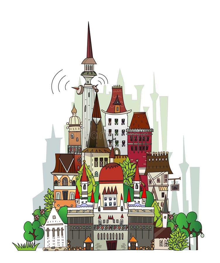 Grodzka ilustracja, miasto kolekcja ilustracji