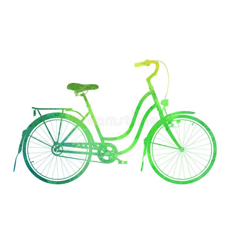 Grodzka rowerowa akwareli sylwetka royalty ilustracja