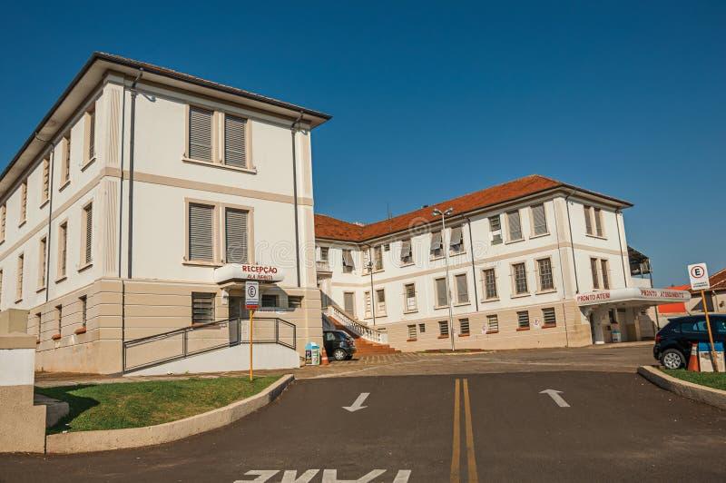 Grodzka Szpitalna budynek fasada i główne wejście przeciwawaryjny sektor przy São Manuel obrazy royalty free