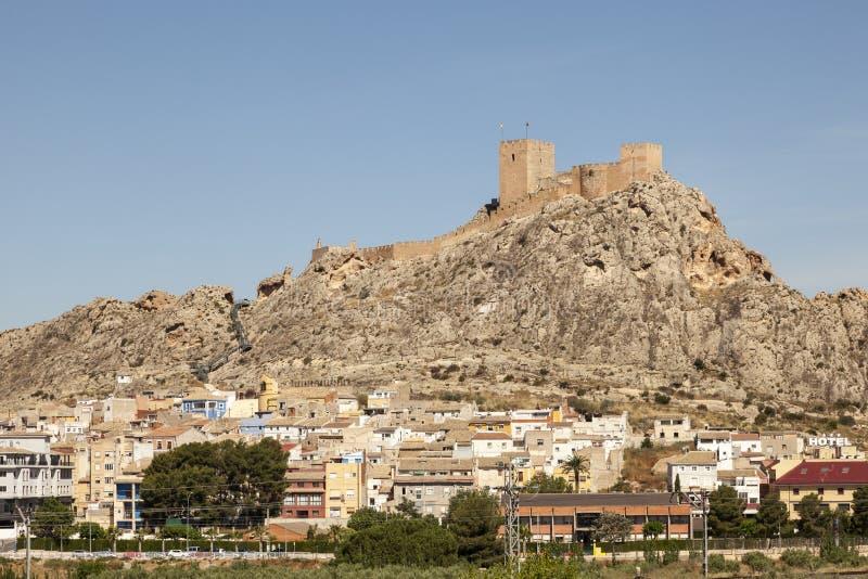 Grodzki saksofon z historycznym kasztelem Prowincja Alicante, Hiszpania fotografia royalty free