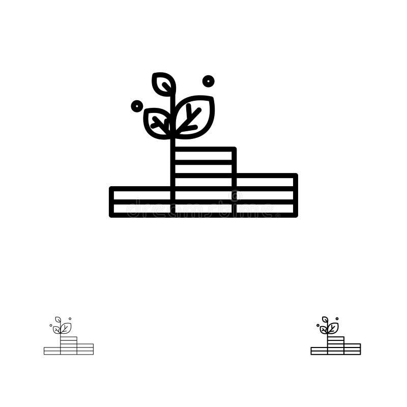 Groei, de Groei, Geld, het pictogramreeks van de Succes Gewaagde en dunne zwarte lijn vector illustratie