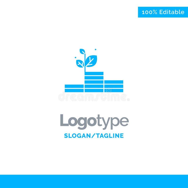 Groei, de Groei, Geld, Succes Blauw Stevig Logo Template Plaats voor Tagline vector illustratie