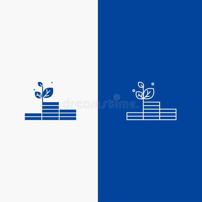Groei, de Groei, Geld, Succeslijn en Lijn van de het pictogram Blauwe banner van Glyph de Stevige en Stevige het pictogram Blauwe vector illustratie