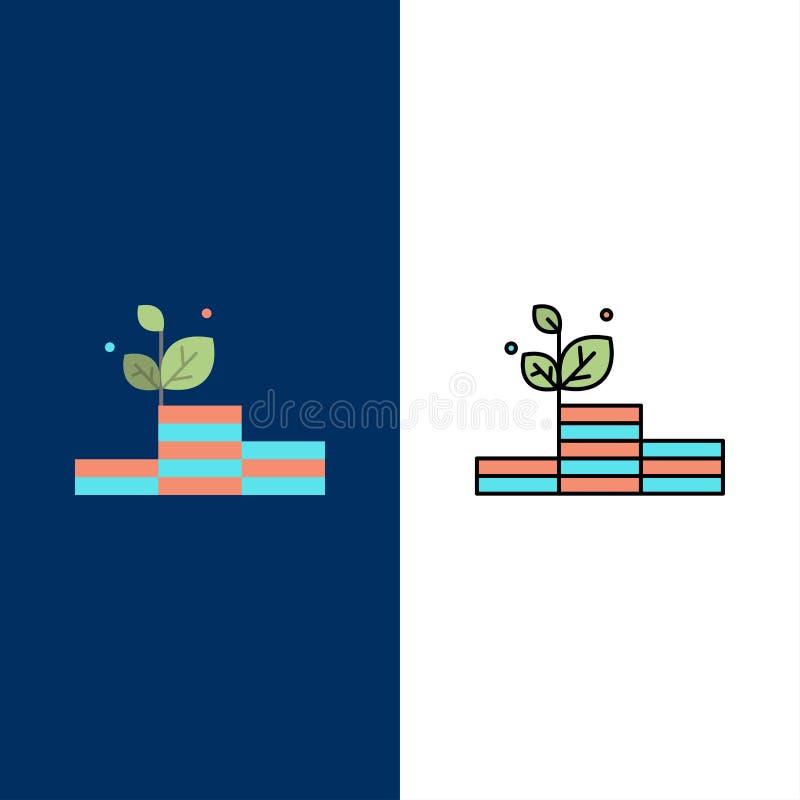 Groei, de Groei, Geld, Succespictogrammen Vlak en Lijn vulde Pictogram Vastgestelde Vector Blauwe Achtergrond stock illustratie