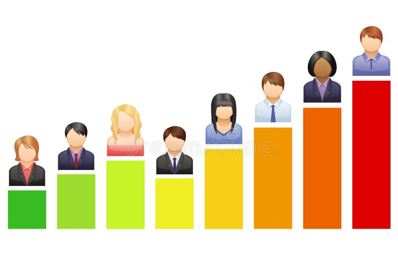 Groei grafiek met hoofden royalty-vrije stock afbeelding