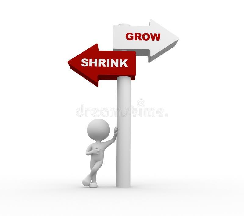 Groei versus krimpen stock illustratie