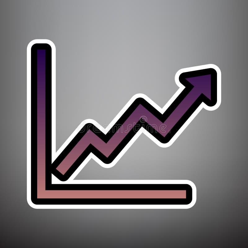 Groeiend bars grafisch teken Vector Violet gradiëntpictogram met bla stock illustratie