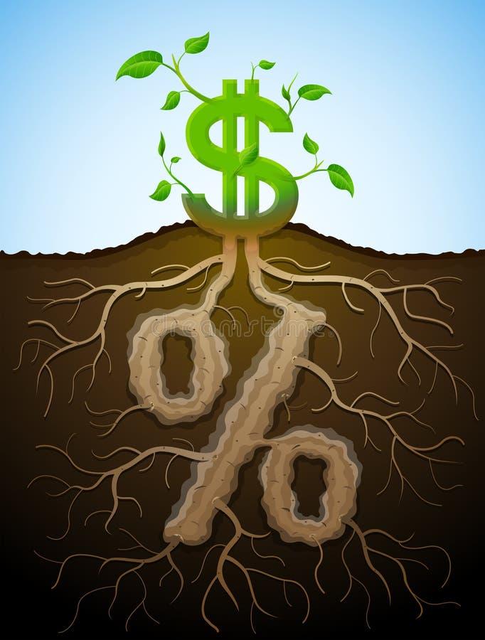 Groeiend dollarteken als installatie met bladeren en percententeken als roo stock illustratie