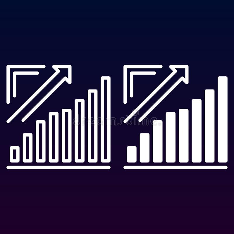 Groeiende grafiek, de uitgaande lijn van de Pijlgrafiek en stevig pictogram, overzicht en gevuld vectorteken, lineair en volledig royalty-vrije illustratie