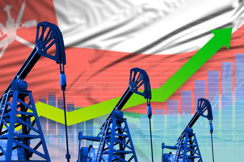 Groeiende grafiek op Oman flag background - industrial illustration of Oman oil industry or market concept 3D-illustratie vector illustratie