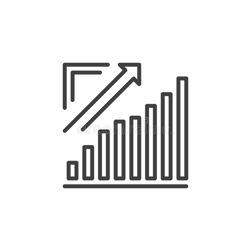 Groeiende grafiek, Pijlgrafiek het uitgaan lijnpictogram, overzichts vectorteken, lineair die pictogram op wit wordt geïsoleerd stock illustratie