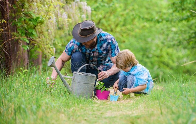 Groeiende installaties Behandel Installaties Dag van Aarde Jongen en vader in aard Het tuinieren nieuwe hulpmiddelen, rietdienbla stock foto's