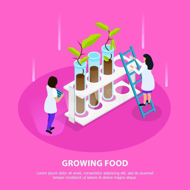 Groeiende Kunstmatige Voedsel Isometrische Samenstelling royalty-vrije illustratie