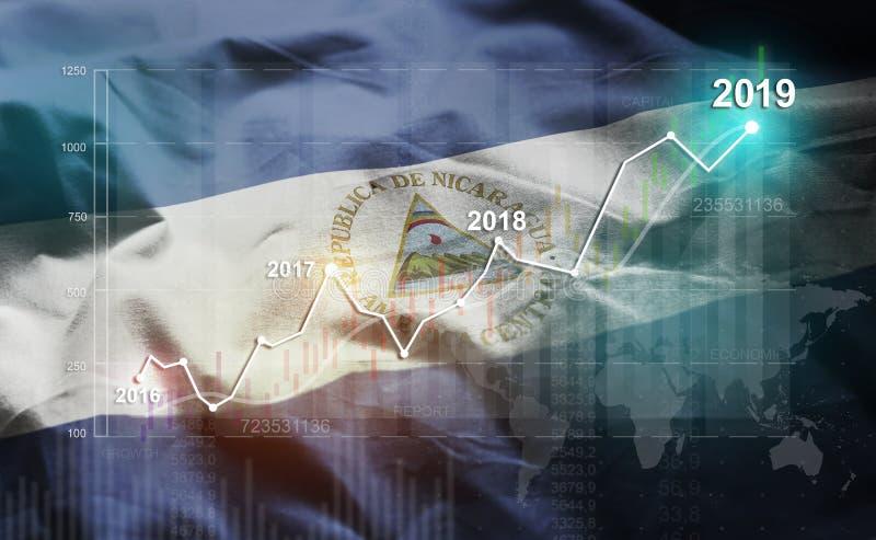Groeiende Statistiek Financiële 2019 tegen de Vlag van Nicaragua vector illustratie