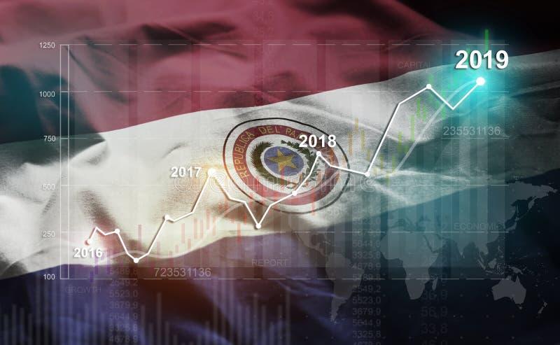 Groeiende Statistiek Financiële 2019 tegen de Vlag van Paraguay royalty-vrije illustratie