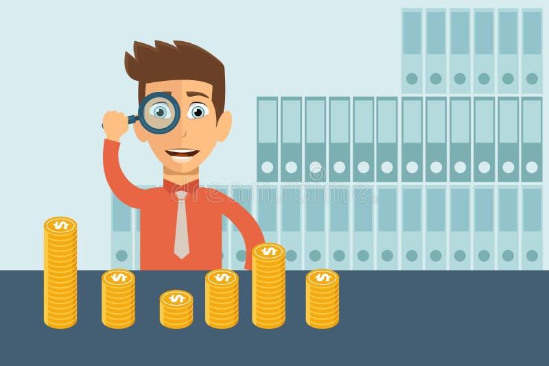 Groeiende zaken in financiële aspecten Het vergrootglas en de zitting van de mensenholding voor gouden muntstukken Vlakke vector vector illustratie