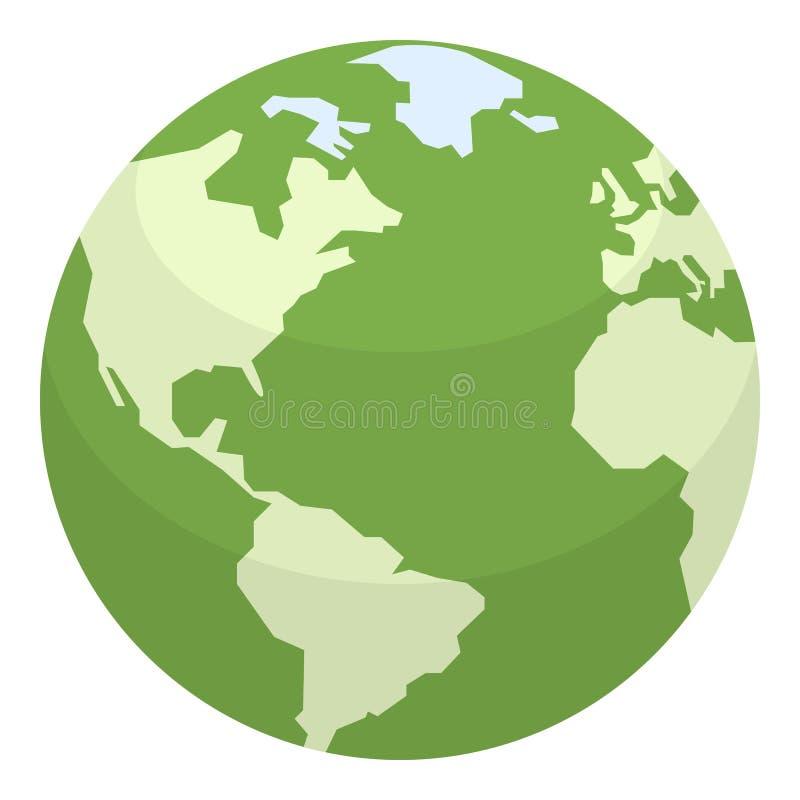 Groen Aarde Vlak die Pictogram op Wit wordt geïsoleerd royalty-vrije illustratie