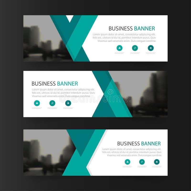 Groen abstract driehoeks collectief bedrijfsbannermalplaatje, de horizontale reeks van het het malplaatje vlakke ontwerp reclame  royalty-vrije illustratie