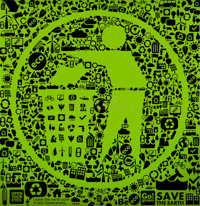 Groen afvalsymbool stock illustratie