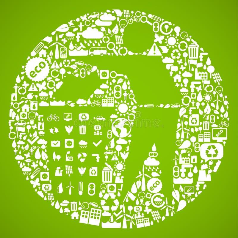 Groen afvalsymbool royalty-vrije illustratie