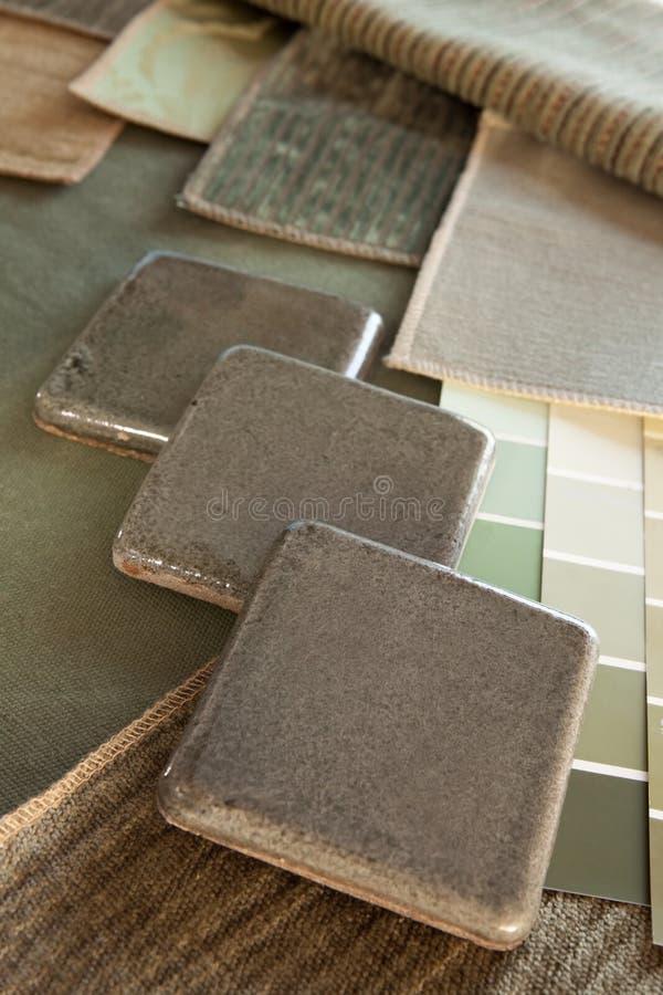 Groen & bruin binnenlands ontwerpplan stock foto's