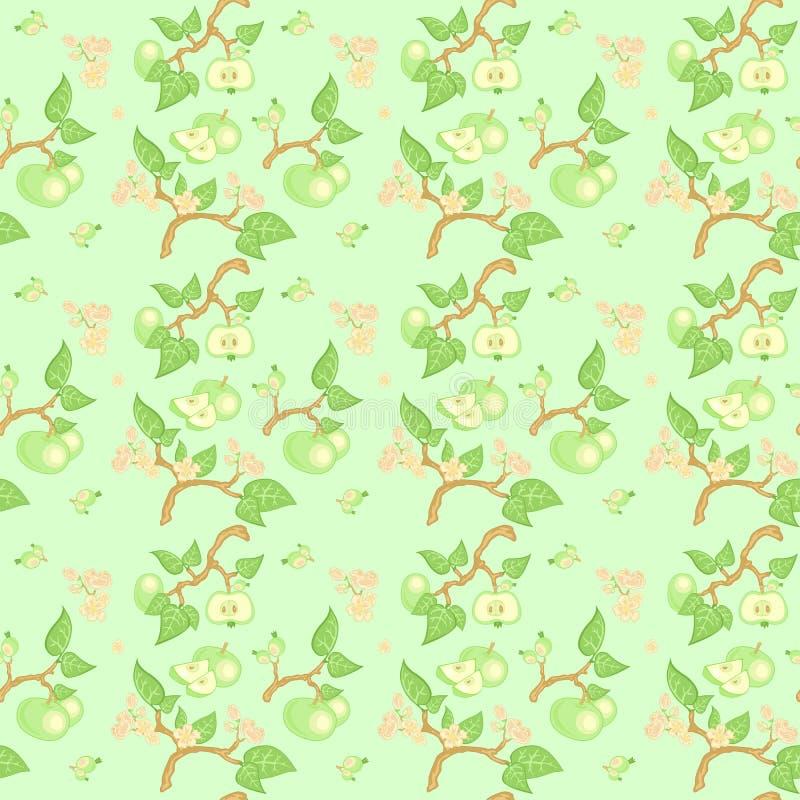 Groen appel naadloos patroon royalty-vrije illustratie