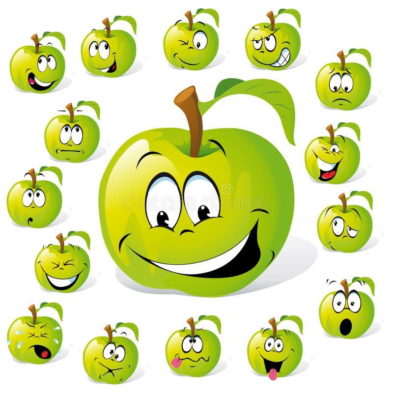 Groen appelbeeldverhaal stock illustratie