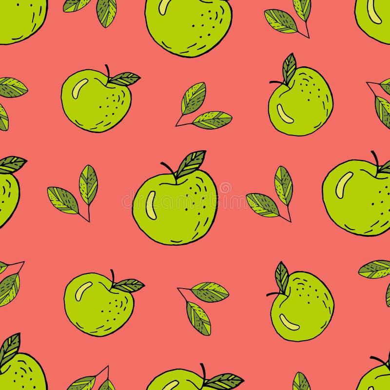 Groen Appelenpatroon stock illustratie