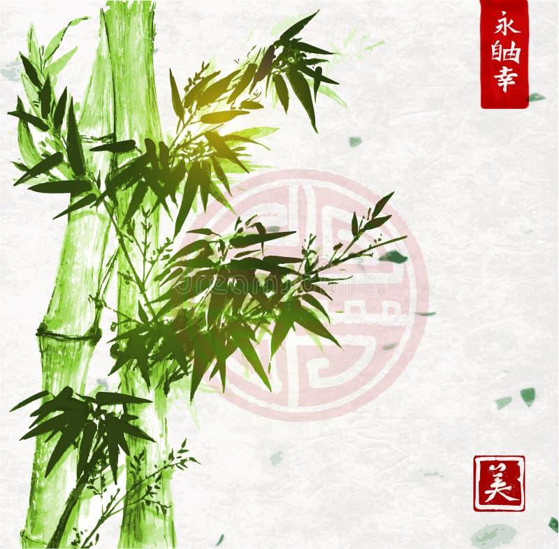 Groen bamboe op met de hand gemaakte rijstpapierachtergrond vector illustratie