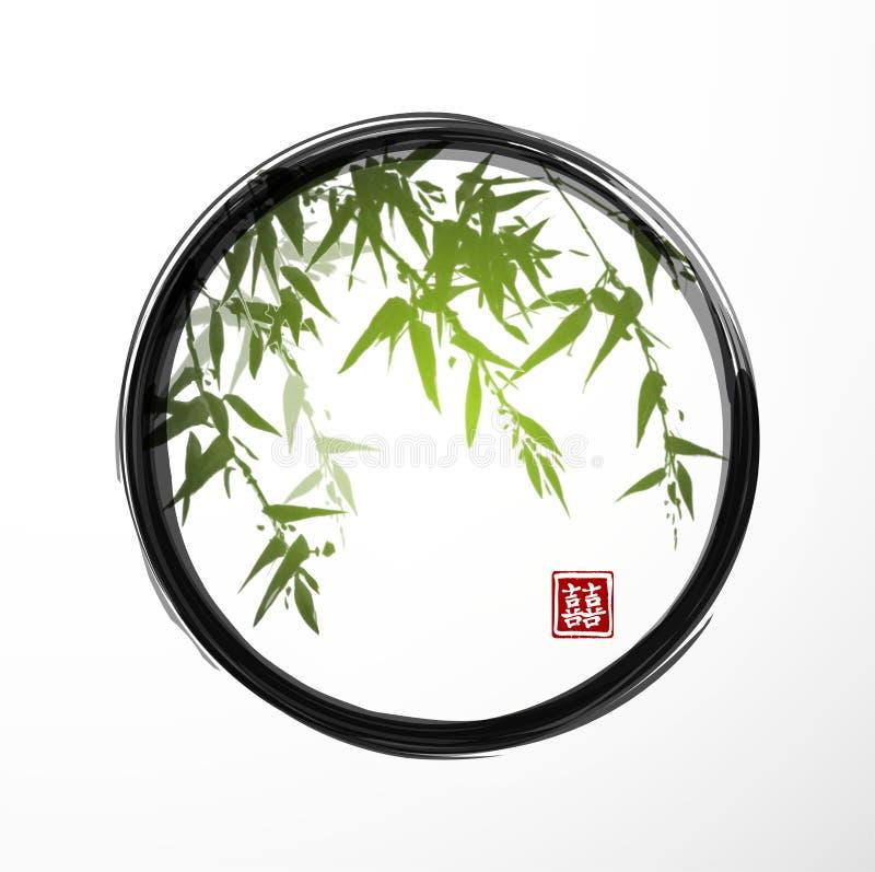 Groen bamboe in zwarte enso zen cirkel royalty-vrije illustratie