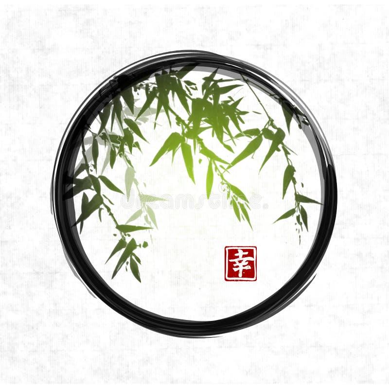Groen bamboe in zwarte enso zen cirkel vector illustratie