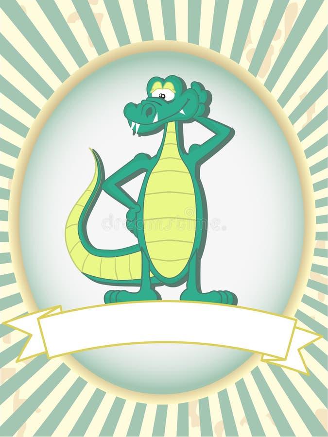 Groen beeldverhaal dat krokodille leeg productetiket stelt royalty-vrije illustratie