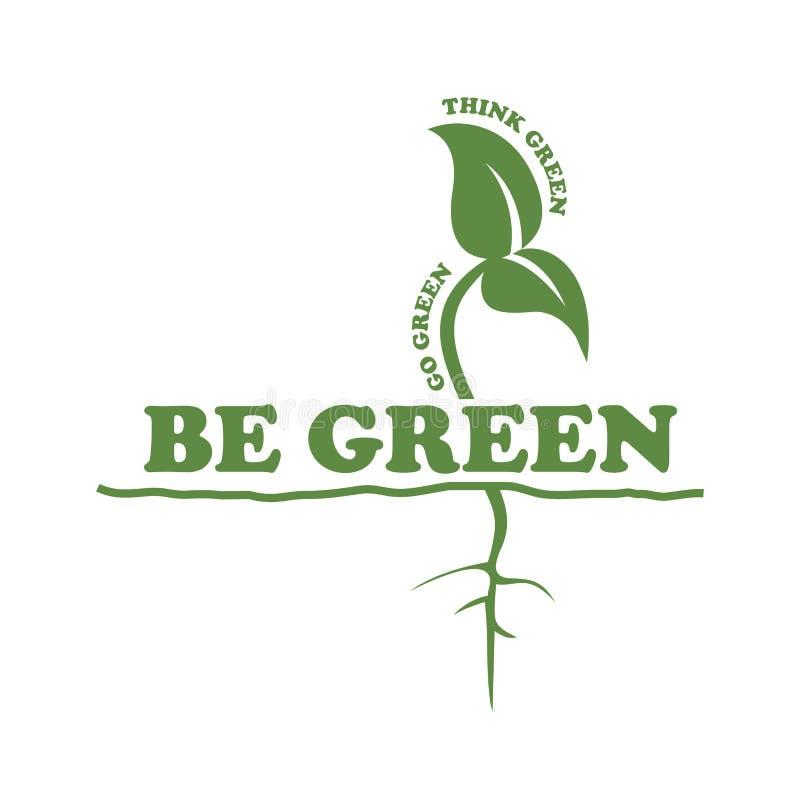 Groen ben gaan groen denken de wortelvector van het groene installatieblad op witte achtergrond stock illustratie