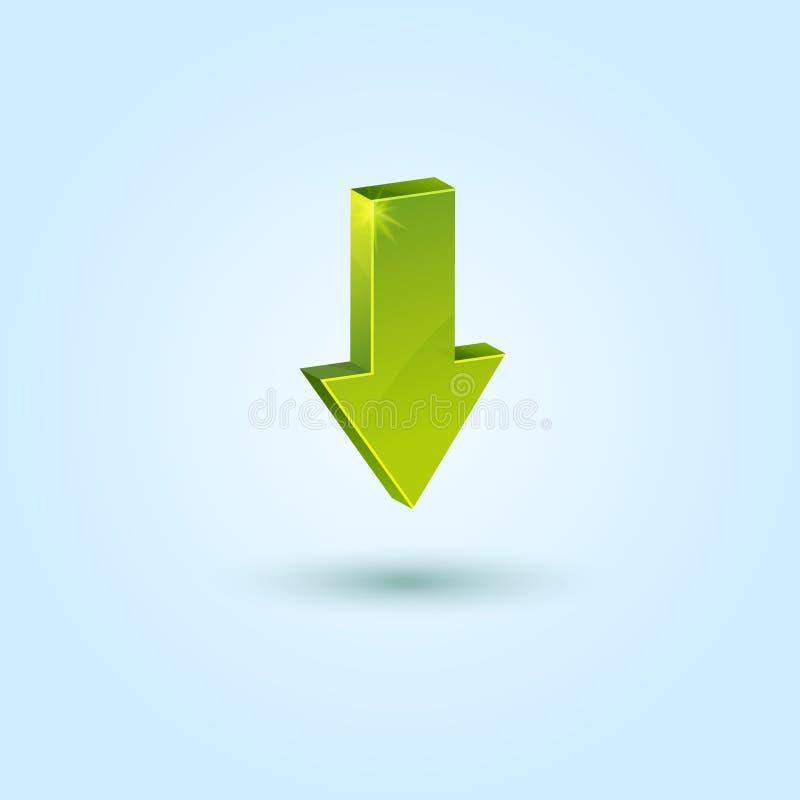 Groen benedenpijlsymbool dat op blauw wordt geïsoleerda stock illustratie