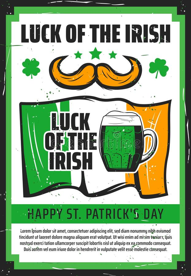 Groen bier, Ierse vlag en klaver St Pattys de Klavers en de rozen van de Dag royalty-vrije illustratie