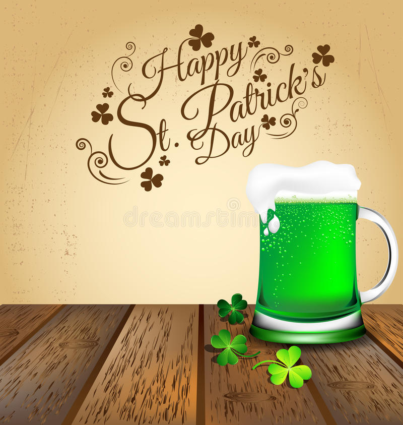 Groen bier met Klaver op houten vloer voor St Patricks Dag c stock illustratie