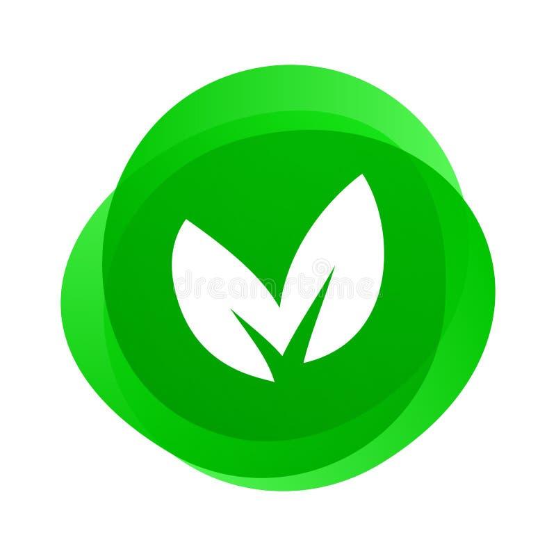 Groen blad vectorpictogram Veganist en vegetarisch voedsel, bioecomilieu, groene natuurbescherming en van BPA vrije veilig en gez stock illustratie
