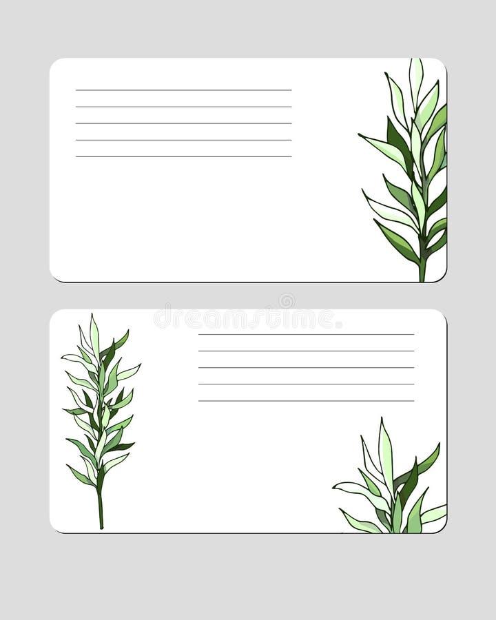 groen bladerenadreskaartje voor modieuze bines stock illustratie