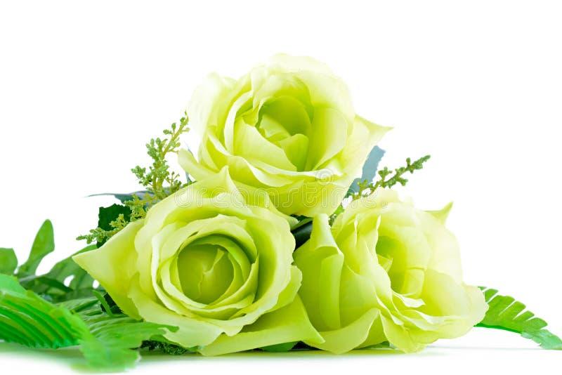 Groen bloemboeket op witte achtergrond stock afbeeldingen