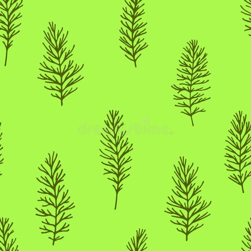 Groen bloemen naadloos patroon met twijgen vector illustratie