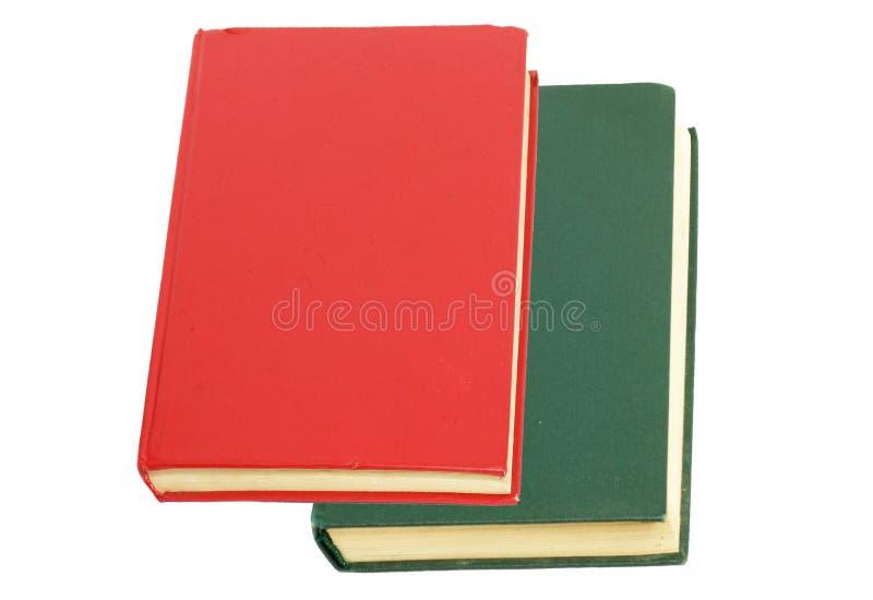 Groen boek en rood boek stock afbeelding