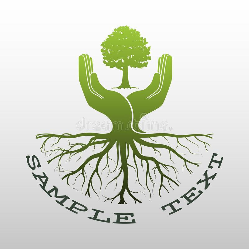 Groen boomembleem royalty-vrije illustratie