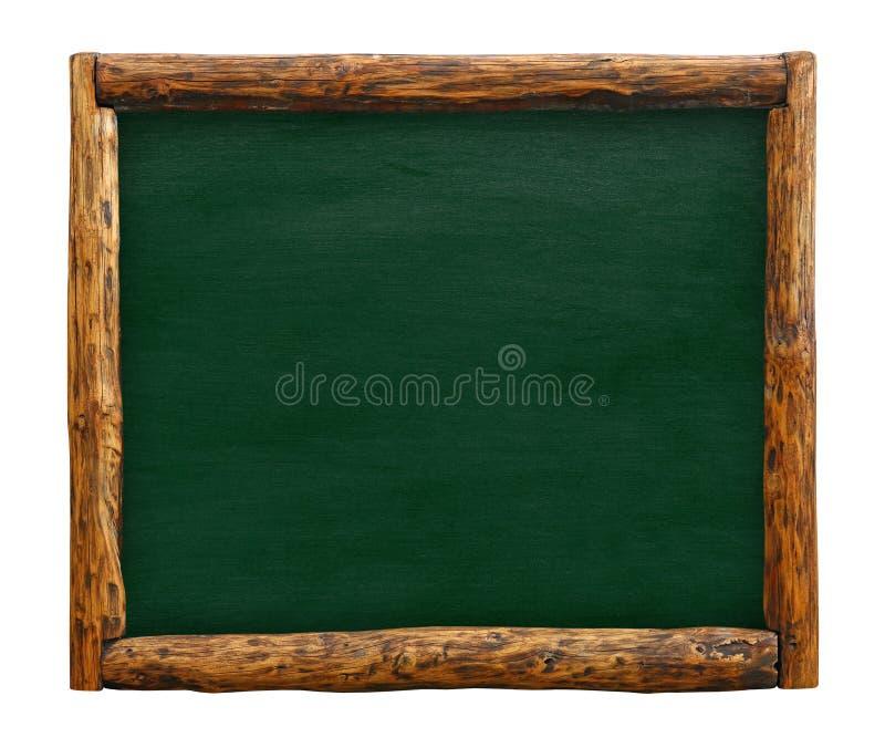 Groen bordteken met het houten kader van de logboekgrens royalty-vrije stock fotografie