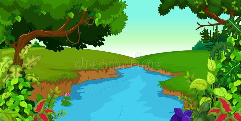 Groen bos met rivier vector illustratie