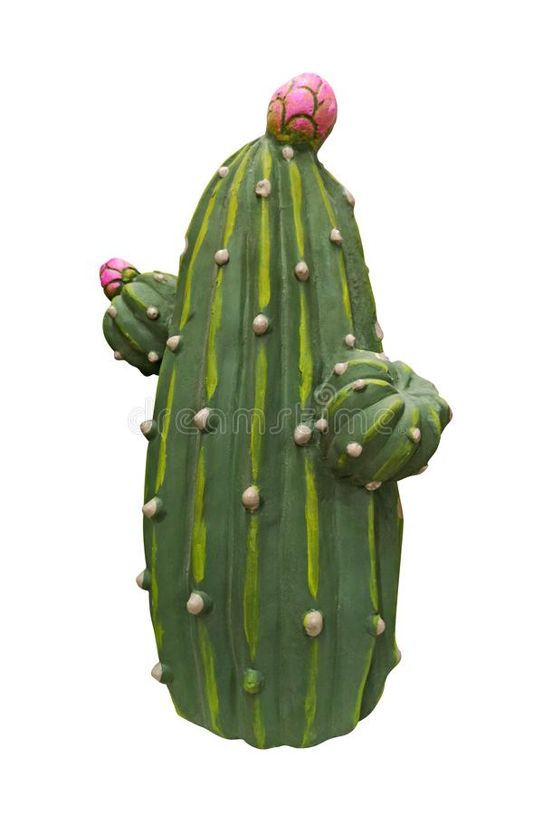 Groen ceramisch cijfer van cactussen Decoratief stuk speelgoed beeldhouwwerk voor de tuin herinnering Ge?soleerdj op witte achter royalty-vrije stock afbeelding