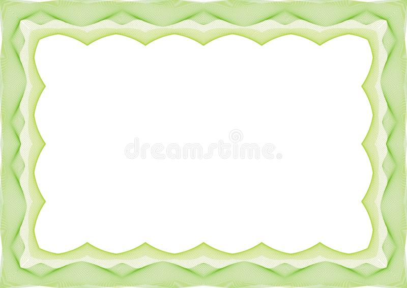 Groen Certificaat of van het diplomamalplaatje kader - grens vector illustratie