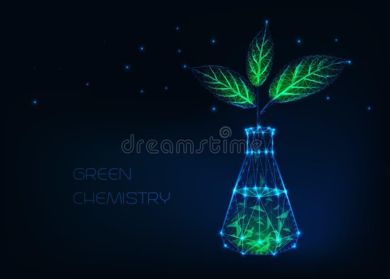 Groen chemieconcept met gloeiende chemische beker en installatie met groene die bladeren van sterren, lijnen, punten, driehoeken  royalty-vrije illustratie